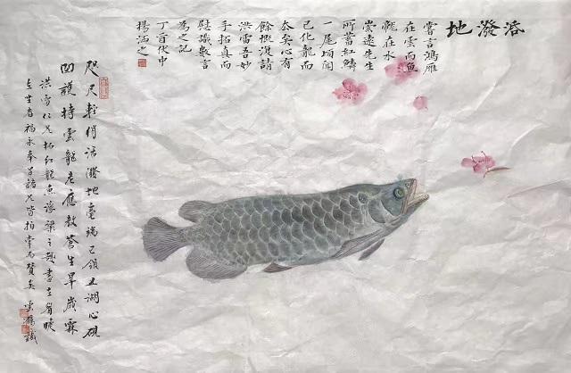 张洪雷先生制作鱼拓,徐云鹤先生绘桃花,并与杨涵之先生同跋